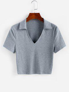 ZAFUL Ribbed V Notched Crop T-shirt - Dark Gray M