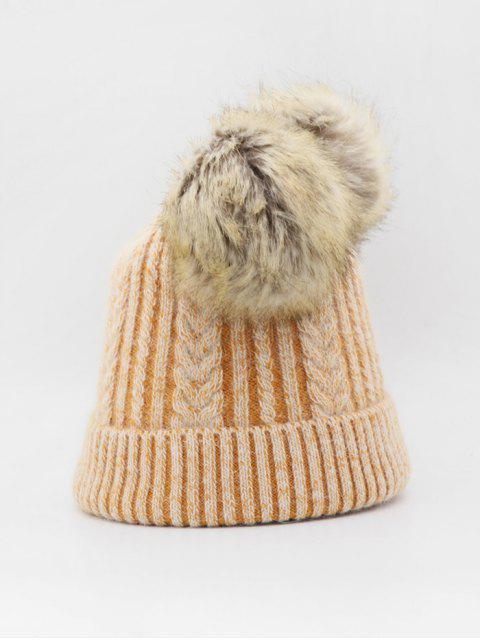 Winter Fuzzy Balls Geflochtene Strickmütze - Tiger Orange  Mobile