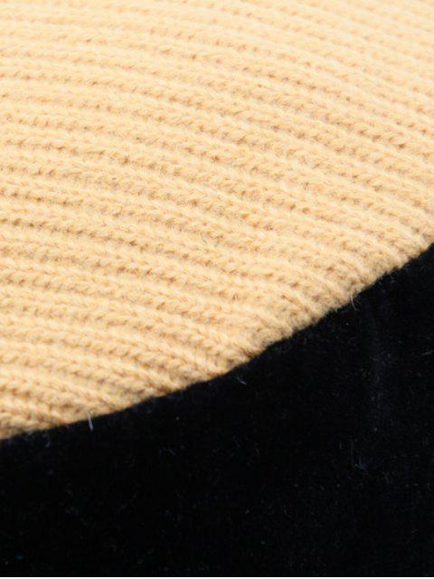 Farbblock Strick Suede Patchwork Reversible Eimer Hut - Karamell  Mobile