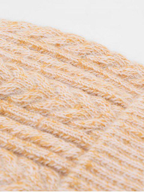 Winter Geflochtene gestrickte Pudelmütze - Tiger Orange  Mobile