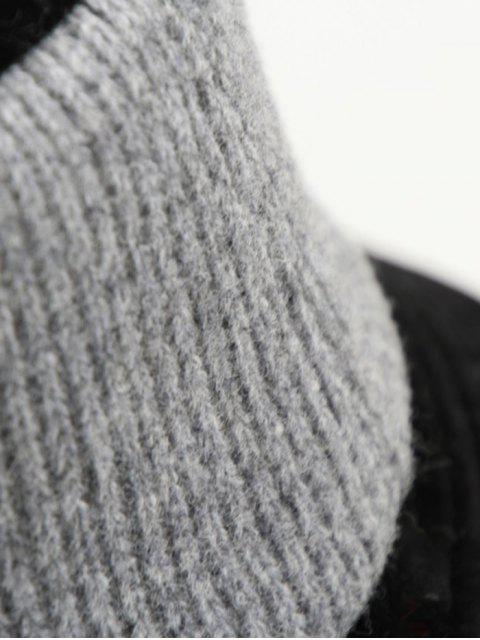 Tricoté Patchwork réversible Chapeau - Gris Foncé  Mobile