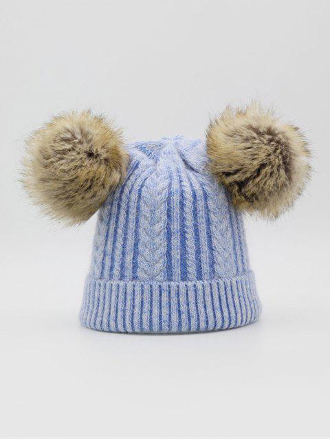 Пушистый шар Зимняя Вязаная Шляпа - Небесно-голубой  Mobile