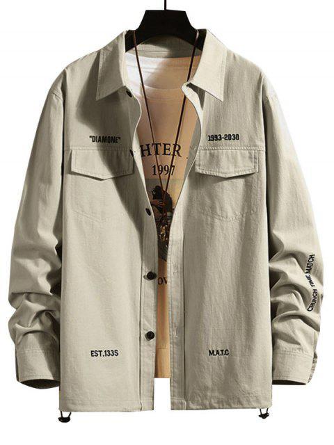 字母刺繡翼口袋衫鈕 - 淺灰 4XL Mobile