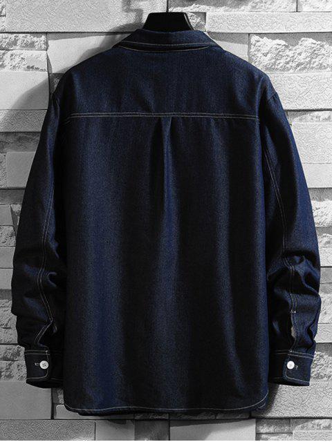 Carta del botón de impresión de larga Camiseta - Azul profundo M Mobile