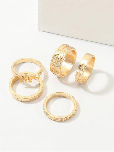 best 5Pcs Letter Engraved Ring Set - GOLD  Mobile