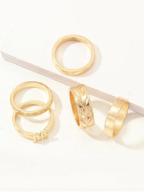 5Pcs Brief gravierte Ring Set - Gold  Mobile