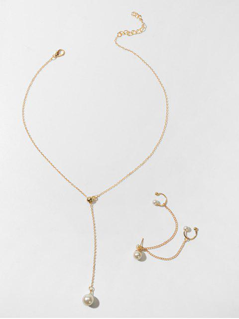 Искусственный жемчуг Ожерелье Серьга Набор - Золотой  Mobile