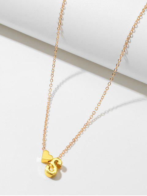 2ST Heart Letter Lariat Halskette Set - Gold  Mobile