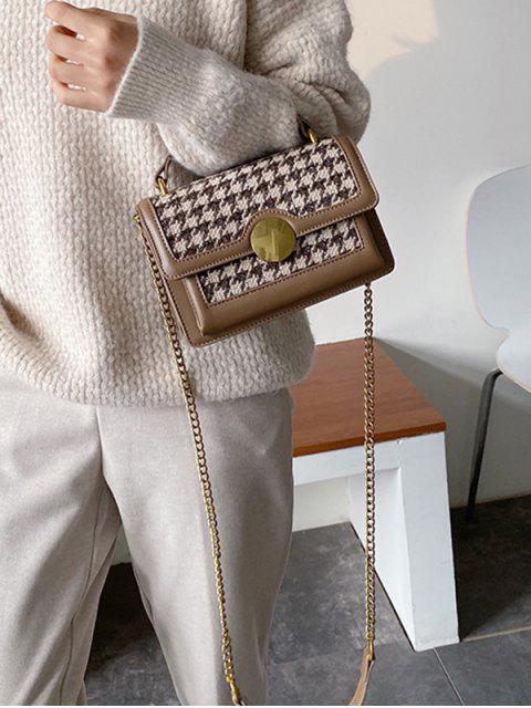 Round Buckle Houndstooth Print-Taschen-Tasche - Khaki  Mobile