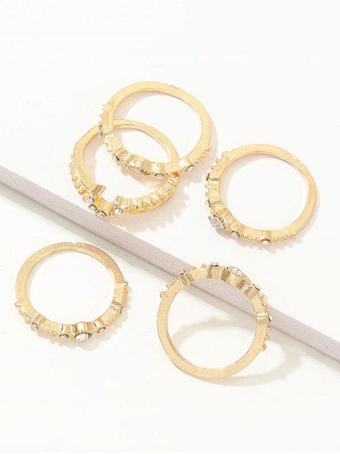 5Pcs Mond Strass Ring Set - Gold  Mobile