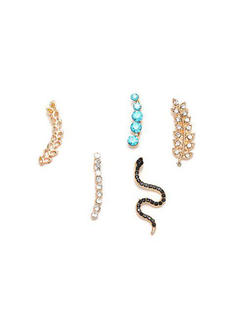 5顆蛇葉水鑽耳環套裝 - 金  Mobile