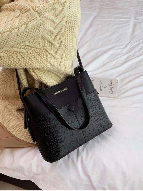 Tier geprägtes Leder Bucket Bag - Schwarz  Mobile