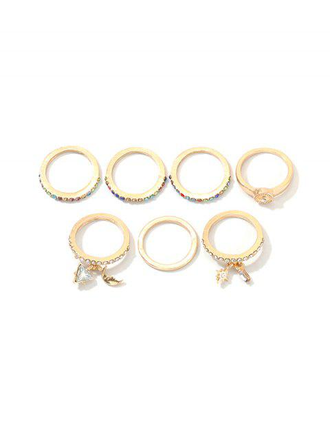 7Pcs Mond Geometrische Strass Ringe Set - Gold  Mobile