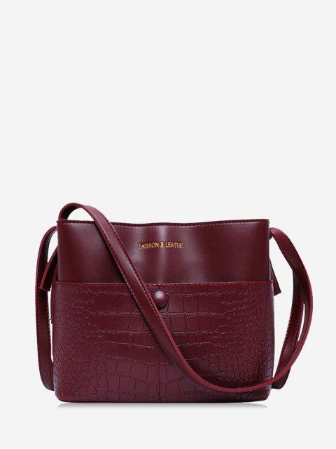Tier geprägtes Leder Bucket Bag - Roter Wein  Mobile