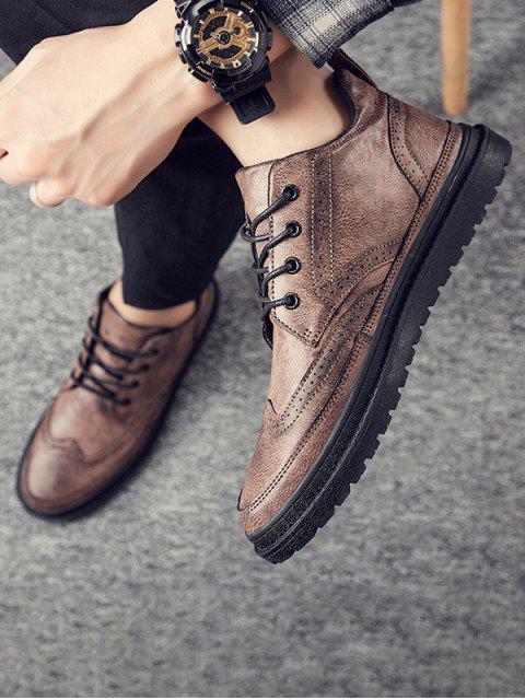英式翼尖系帶踝靴 - 棕色 歐盟44 Mobile