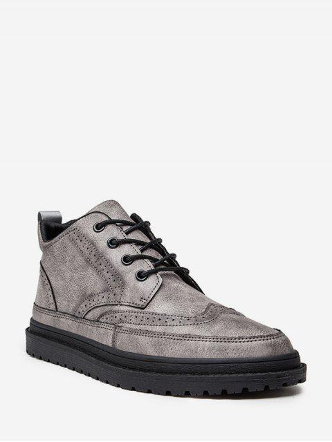 英式翼尖系帶踝靴 - 灰色 歐盟43 Mobile
