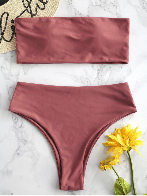 women's ZAFUL High Waisted Bandeau Bikini Set - CHESTNUT S Mobile