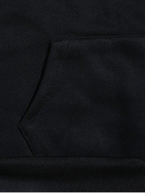 蛇信圖形打印抓絨抽繩連帽外套 - 黑色 M Mobile