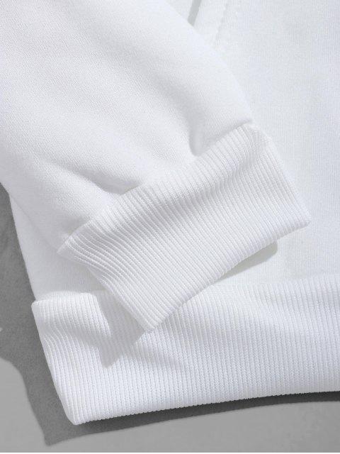 蛇信圖形打印抓絨抽繩連帽外套 - 白色 L Mobile