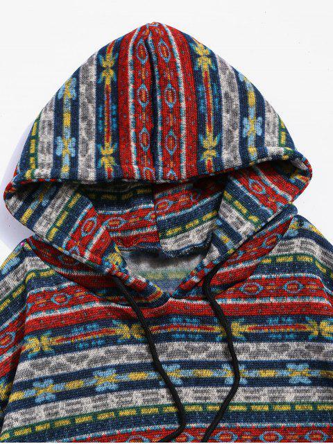 花部落圖形抽繩針織絨連帽外套 - 多-A M Mobile