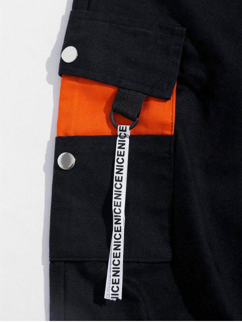 Colorblock拼接口袋抽繩短褲慢跑者 - 橙子 XS Mobile