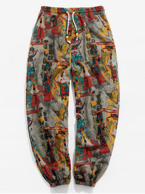 womens ZAFUL Vintage Printed Drawstring Casual Pants - MULTI 2XL Mobile