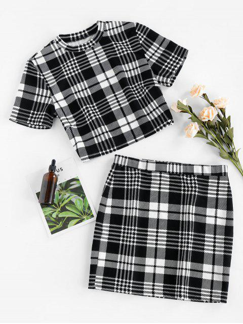 outfits ZAFUL Houndstooth Plaid Bodycon Mini Skirt Set - BLACK S Mobile