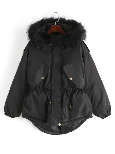 Manteau Parka Taille à Cordon - Noir L Mobile