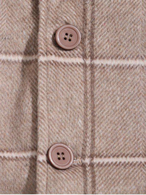 休閒格紋圖案按鈕向上外套 - 黃褐色 3XL Mobile