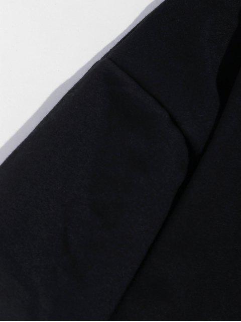 信打印格紋拼接仿兩件套衫 - 黑色 L Mobile