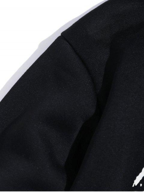 飛鶴信打印抓絨休閒連帽外套 - 黑色 S Mobile