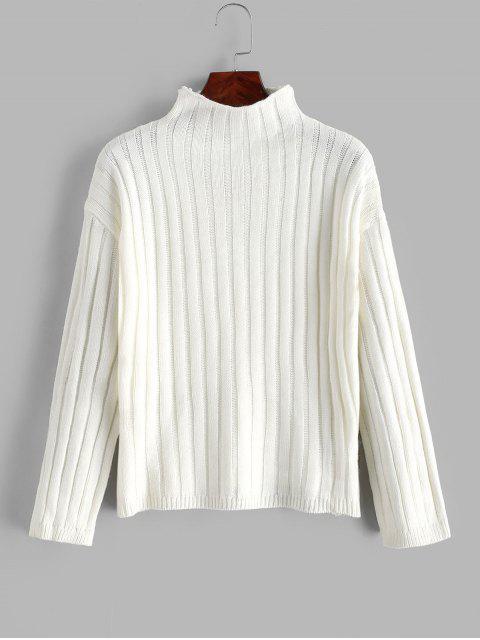 落肩頸部模擬基本跳線毛衣 - 白色 One Size Mobile