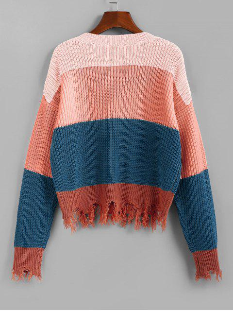 fashion ZAFUL Colorblock Frayed Sweater - LIGHT PINK S Mobile