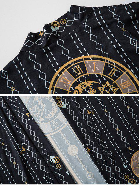 Cardigan di Chimono con Stampa Geometrica Aperto Davanti - Nero 2XL Mobile
