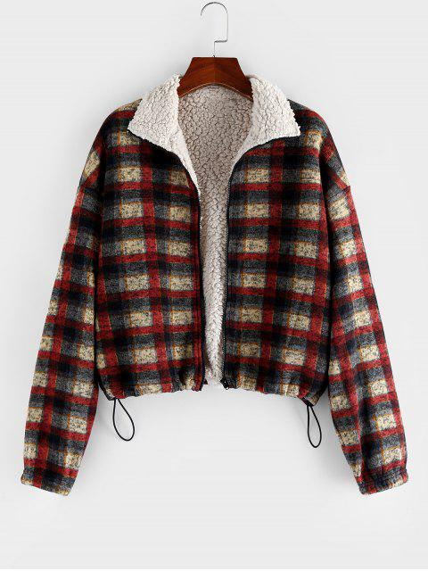 womens ZAFUL Tribal Print Plaid Faux Fur Lined Jacket - MULTI-A M Mobile