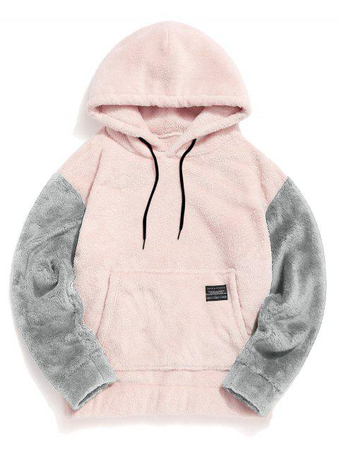 顏色阻斷囊袋狀蓬鬆夾克 - 粉 M Mobile