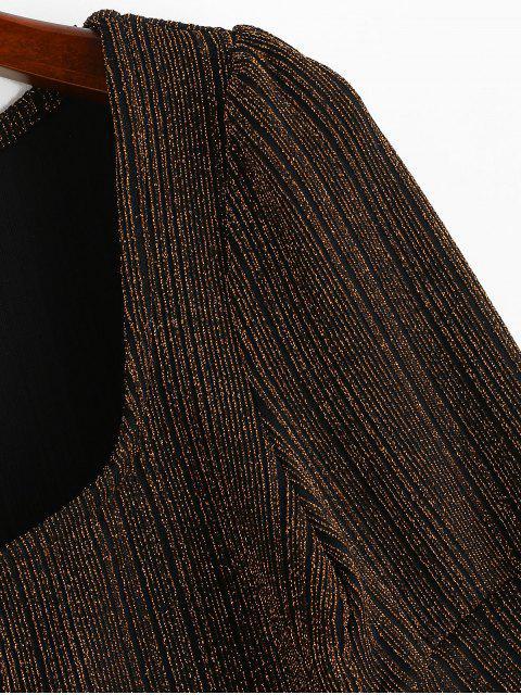 fancy ZAFUL U Neck Metallic Threads Cropped Tee - BLACK S Mobile