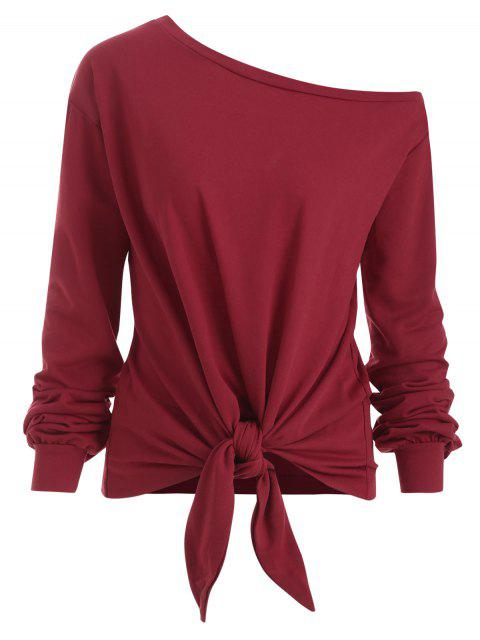 womens Knot Front Long Sleeve Skew Collar Tee - RED WINE ONE SIZE Mobile