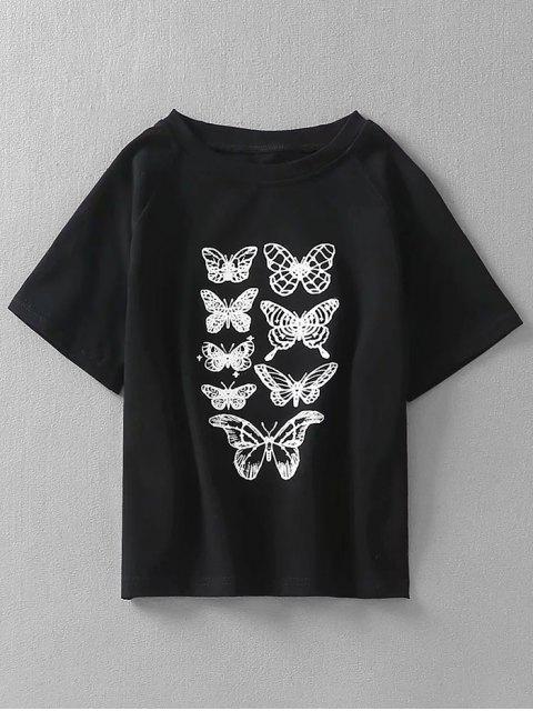 sale Butterfly Print Raglan Sleeves Crop Tee - BLACK S Mobile