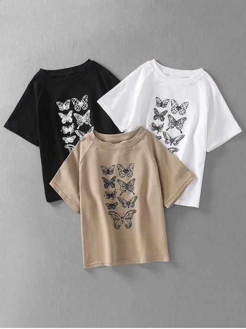 women Butterfly Print Raglan Sleeves Crop Tee - WHITE M Mobile