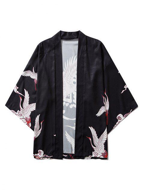 new Flying Crane Letter Print Open Front Kimono Cardigan - BLACK 2XL Mobile