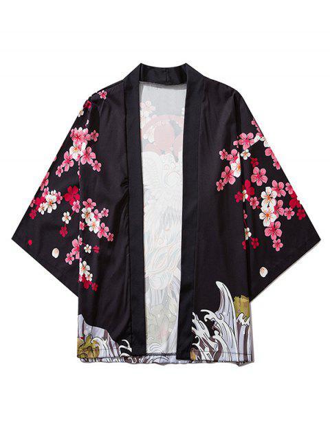 fancy Floral Flying Crane Sea Waves Print Open Front Kimono Cardigan - BLACK 2XL Mobile
