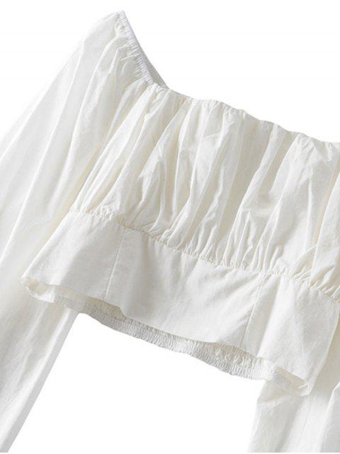 lady Smocked Back Solid Crop Blouse - WHITE M Mobile