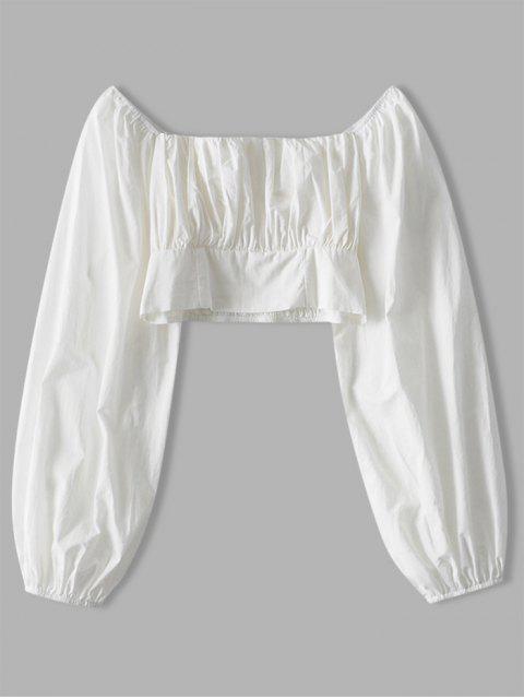 Blusa Corta Sólida - Blanco S Mobile