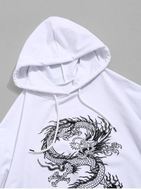 outfit Dragon Graphic Drawstring Loose Hoodie - WHITE M Mobile