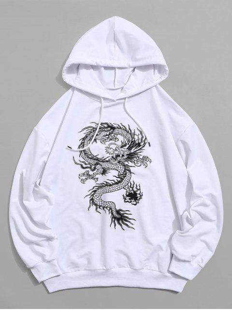Sweat à Capuche Lâche Dragon Graphique à Cordon - Blanc 2XL Mobile