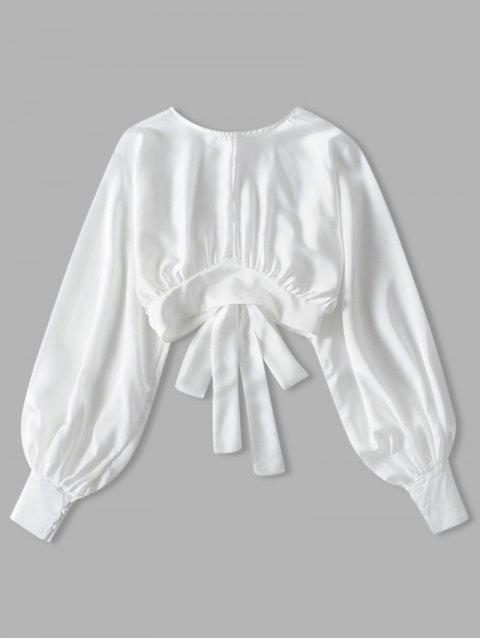 trendy Knotted Back Crop Solid Blouse - WHITE L Mobile