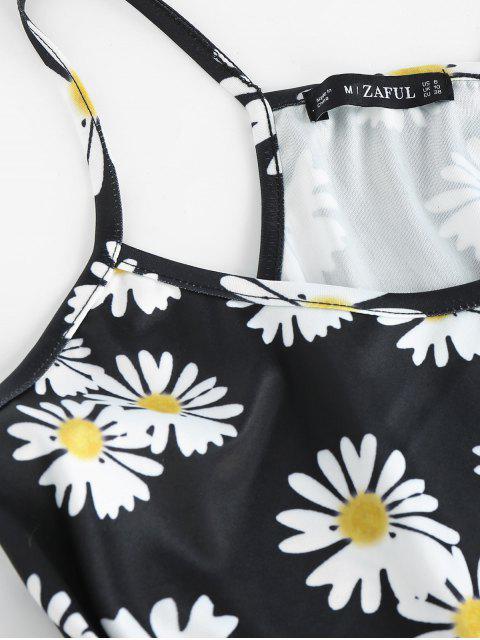 ZAFUL Camisola de Corte Alto de Flor - Negro XL Mobile