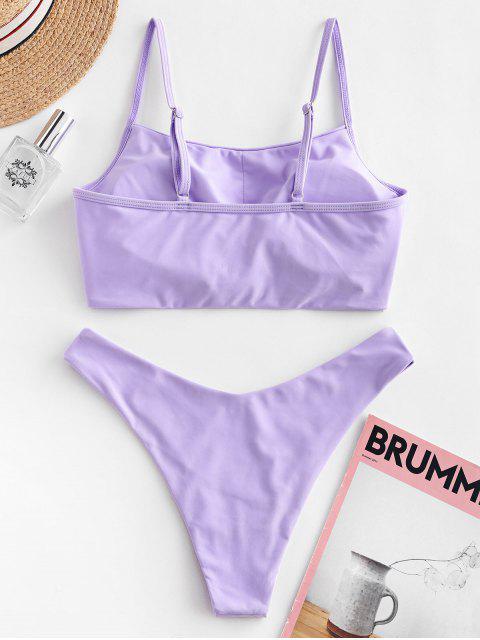 ZAFUL Bikini Anudado de Pierna Alta - Color de malva L Mobile