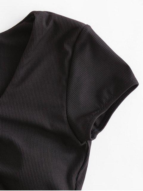 unique ZAFUL Cinched Ribbed Swim Top - BLACK XL Mobile